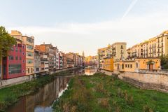 Panorama of Gerona, Costa Brava, Catalonia, Spain. Stock Images