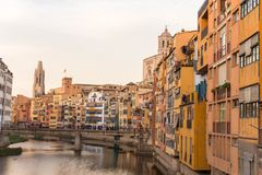 Panorama of Gerona, Costa Brava, Catalonia, Spain. Royalty Free Stock Images
