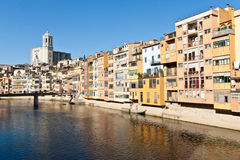 Onyar River and Gerona Cathedral. The Onyar River flowing through the city of Gerona, Spain.  View of Cathedral in the backfground Royalty Free Stock Photography