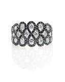 Onyksowy diamentowego ślubu rocznicy zaręczynowy pierścionek Fotografia Royalty Free