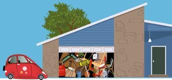 Onyttigt garage som fylls med röra stock illustrationer
