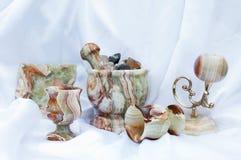 Onyx. Decorative green onyx stone tableware Royalty Free Stock Image