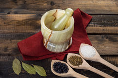 Onyx Mortar and Pestle on wooden Background Royalty Free Stock Image