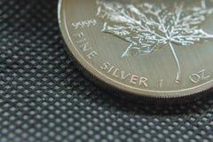 Onza de plata fina canadiense moneda hecha de la plata pura Foto de archivo libre de regalías