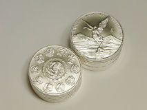 1 onza Libertad Coins de plata mexicana Imagen de archivo libre de regalías