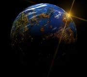 Onze aarde in kosmos en heldere zon Elementen van Royalty-vrije Stock Foto's