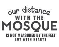 Onze afstand met de moskee wordt niet gemeten door de voeten maar met harten vector illustratie