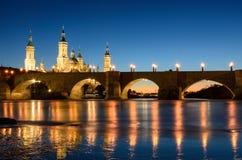 Onze Dame van de Pijler in Zaragoza, Aragon Stock Foto