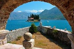 Onze Dame van de Rots, Montenegro, Perast Stock Foto's