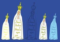 Onze Dame van Fatima en uittreksel van het gebed stock illustratie