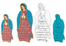 Onze Dame van Guadalupe en uittreksel van het gebed stock illustratie