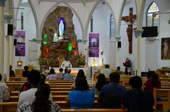 Onze Dame van Lourdes Tamil Catholic Church in Weinig India Singapore Stock Foto