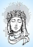 Onze Dame van Verdriet Symbool van Christendom en opmerkelijk geloof Godsdienstige vectorillustratie groot voor druk, affiches royalty-vrije illustratie