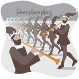 Onze joueurs de pipeau sifflant douze jours de Noël Images libres de droits