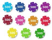 Onze microplaquetas de pôquer Fotografia de Stock