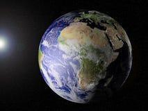 Onze planeet in ruimte (de mening van Afrika) Stock Foto