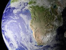 Onze planeet in ruimte (gezoem op zuiden van Afrika) Royalty-vrije Stock Foto's