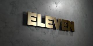 Onze - sinal do ouro montado na parede de mármore lustrosa - 3D renderam a ilustração conservada em estoque livre dos direitos Foto de Stock Royalty Free