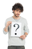 Onzekere Mens die Vraag Mark Sign tonen Royalty-vrije Stock Afbeeldingen