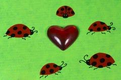 Onzelieveheersbeestjes en hart Royalty-vrije Stock Fotografie