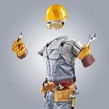 Onzichtbare bouwer met moersleutel en buigtang Royalty-vrije Stock Afbeeldingen