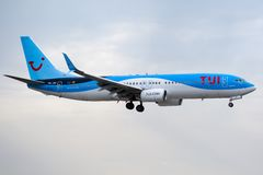 Boeing 737-8K5 - 40943, operated by TUI landing royalty free stock image