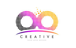 OO O Letter Logo Design with Magenta Dots and Swoosh Stock Images