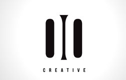 OO O White Letter Logo Design with Black Square. Stock Image