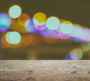 Ood table top on abstract background with bokeh defocused lights and shadow stock image