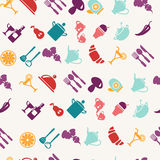 Oods and tableware items pattern Royalty Free Stock Photo