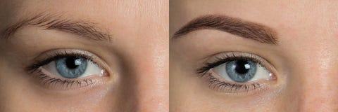 Oog - brows voordien na correctie royalty-vrije stock foto's