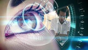 Oog die futuristische interface bekijken die bedrijfsklemmen tonen stock footage