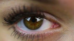 Oog extreem close-up makeup Vrouw op ontvangst bij de oogartsgezondheidszorg stock videobeelden