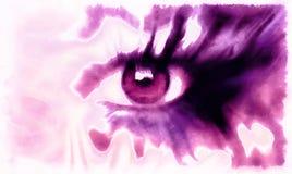 Oog het schilderen collage, abstracte kleurenmake-up, violette toon Royalty-vrije Stock Afbeelding