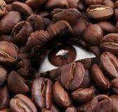 Oog met de textuur van koffiebonen Royalty-vrije Stock Afbeelding