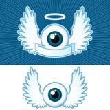 Oog met engelenvleugels en banner Stock Foto's