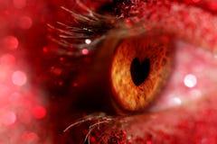 Oog met iris in de vorm van een hart Stock Foto's