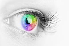 Oog van de meisjes het kleurrijke en natuurlijke regenboog Stock Foto's