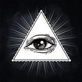 Oog van Voorzienigheid Vrijmetselaars- symbool Allen die oog binnen triangl zien vector illustratie