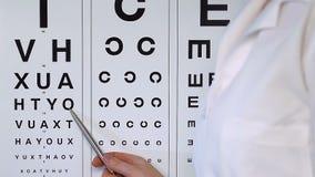 Oogarts die op brieven voor spelling aan persoon op algemeen medisch onderzoek richten stock videobeelden