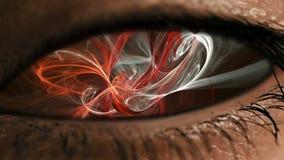 Ooggezoem in iris met abstract neuraal stof stock video