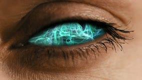 Ooggezoem in iris met abstract neuraal stof stock footage