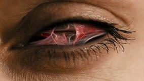 Ooggezoem in iris met abstract neuraal stof vector illustratie