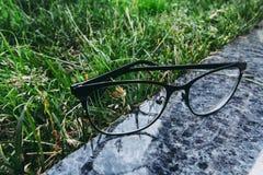 Oogglazen in het zwarte rand liying op de granietoppervlakte dichtbij het gras stock foto's