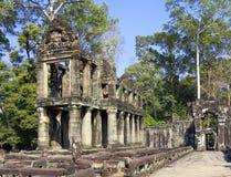 Oogst de 12de Eeuw van Preahkhan temple in Angkor Wat, Siem, Kambodja Stock Foto's