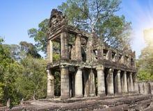 Oogst de 12de Eeuw van Preahkhan temple in Angkor Wat, Siem, Kambodja royalty-vrije stock foto's