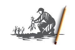 Oogst, landbouw, wortel, landbouwersconcept Hand getrokken geïsoleerde vector vector illustratie