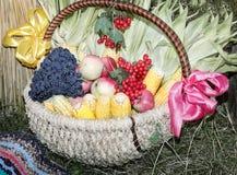 Oogstgroenten, vruchten, bessen bij de markt worden verkocht die Stock Foto