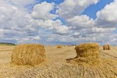 Oogstlandschap met strobalen onder gebieden in de herfst Stock Foto