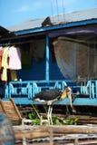 Ooievaar die bij drijvend dorp in Inle Meer, Mya waadt Stock Afbeelding